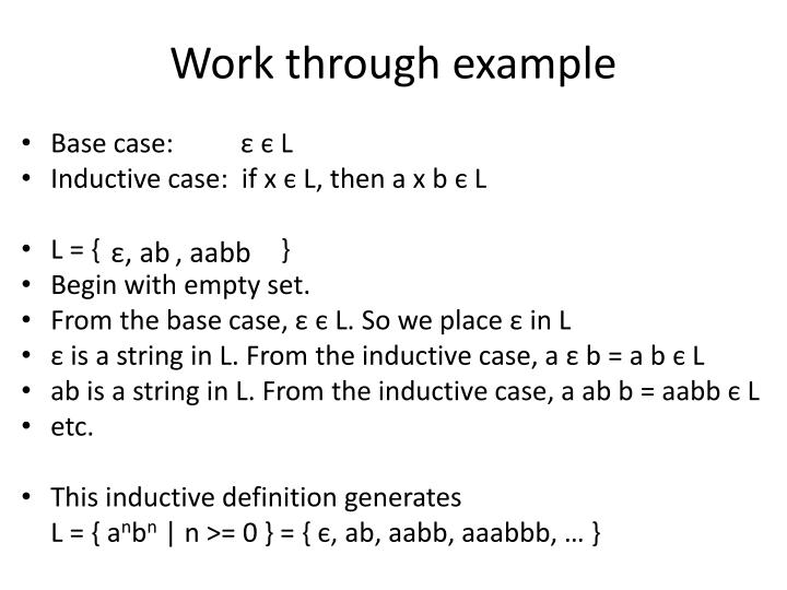 Work through example