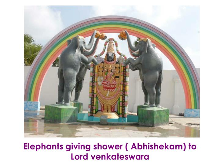 Elephants giving shower ( Abhishekam) to Lord venkateswara