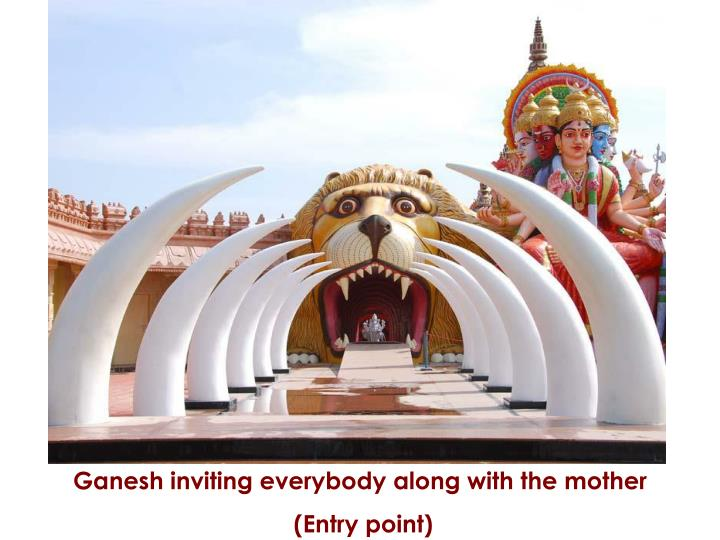 Ganesh inviting everybody along with the mother