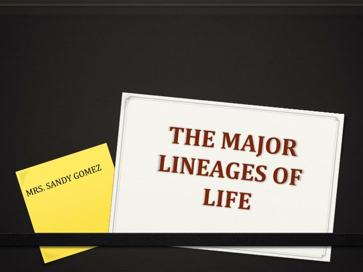 the major lineages of life