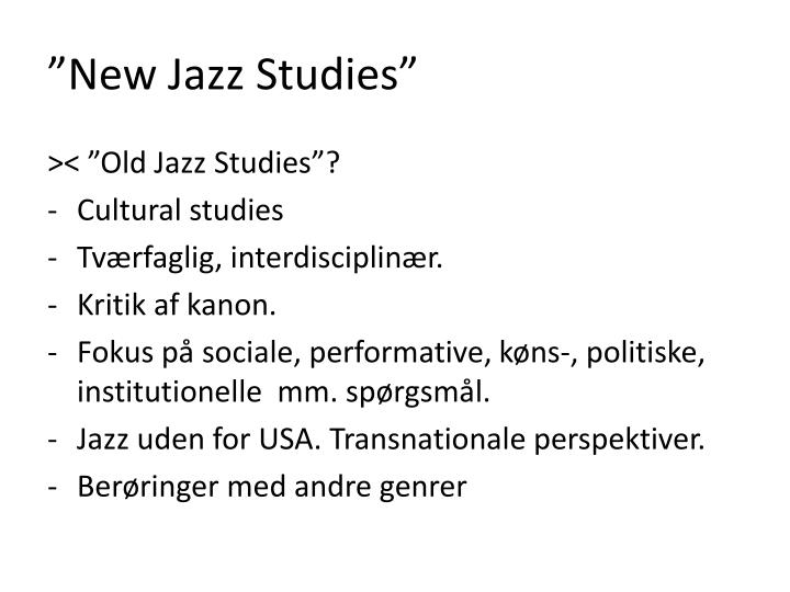 """New Jazz Studies"""