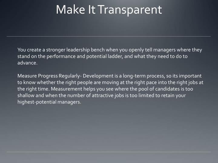 Make It Transparent
