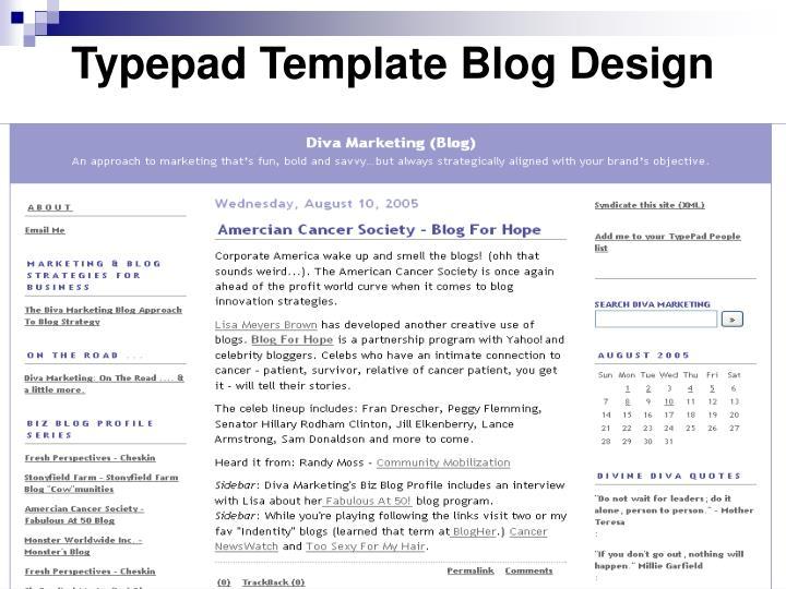 Typepad template blog design