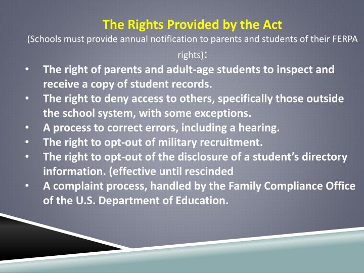The Rights Provided by the Act