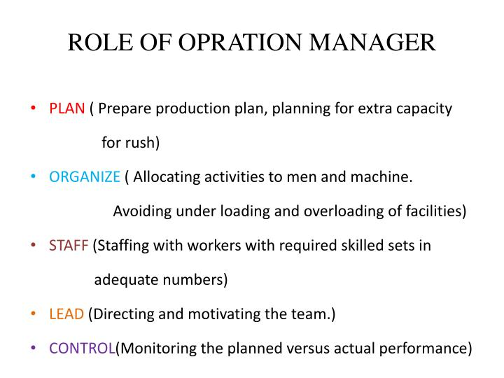ROLE OF OPRATION MANAGER