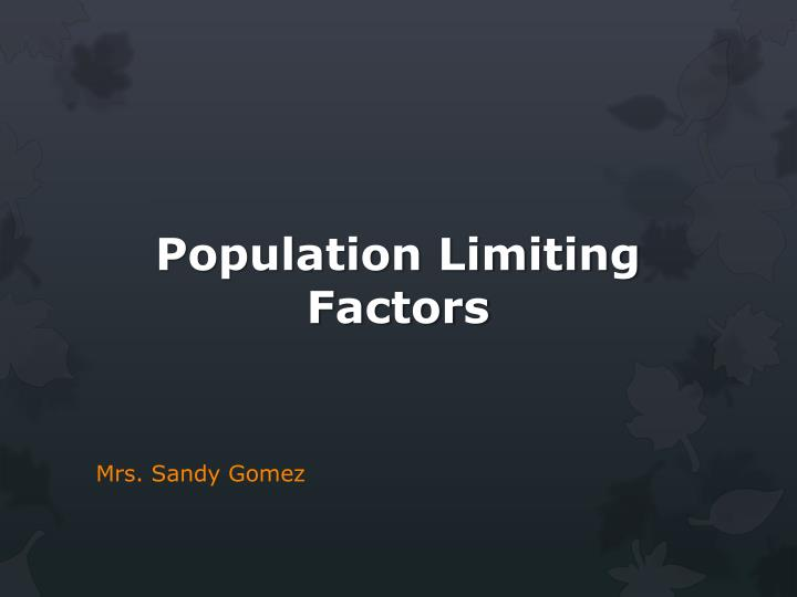 population limiting factors n.