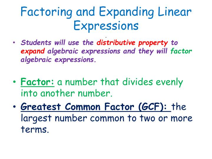 Ppt Factoring And Expanding Linear Expressions Powerpoint