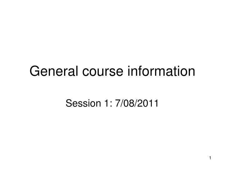 general course information n.