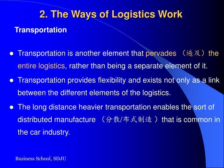 2. The Ways of Logistics Work
