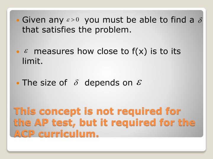 This concept is not required for the ap test but it required for the acp curriculum