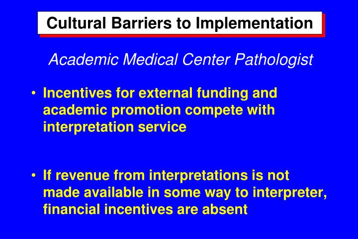 Cultural Barriers to Implementation