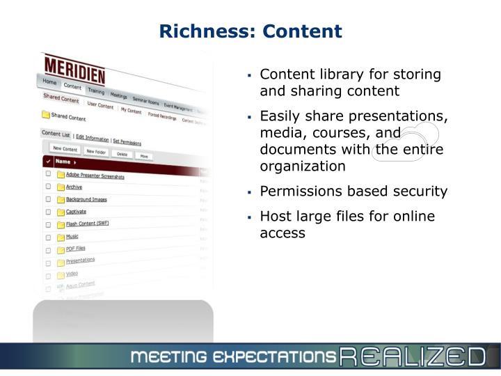 Richness: Content