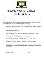 electric hydraulic scissor tables lifts