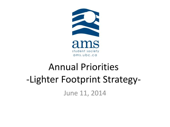 annual priorities lighter footprint strategy n.