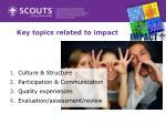 key topics related to impact