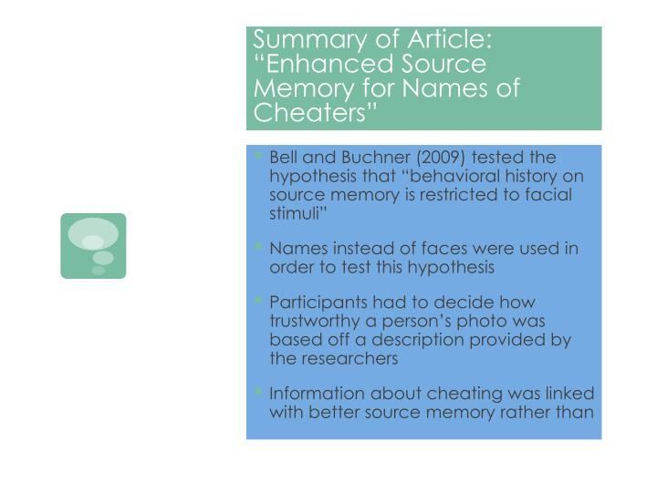 Summary of article enhanced source memory for names of cheaters