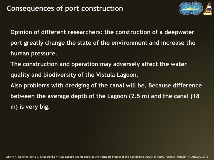 Consequences of port construction