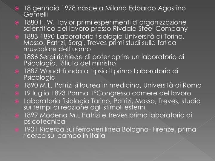 18 gennaio 1978 nasce a Milano Edoardo Agostino Gemelli
