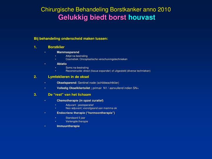 Chirurgische Behandeling Borstkanker anno 2010