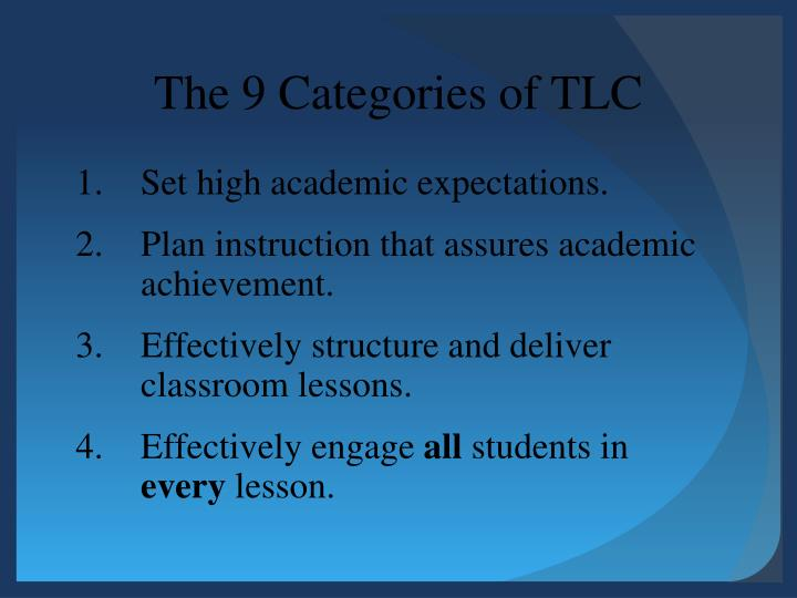 The 9 Categories of TLC