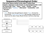 sequence chronological order