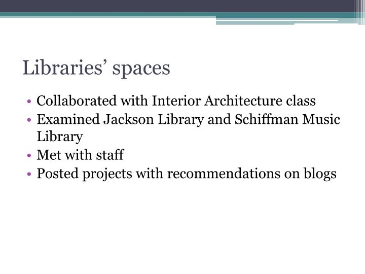 Libraries' spaces