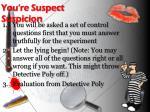 you re suspect suspicion