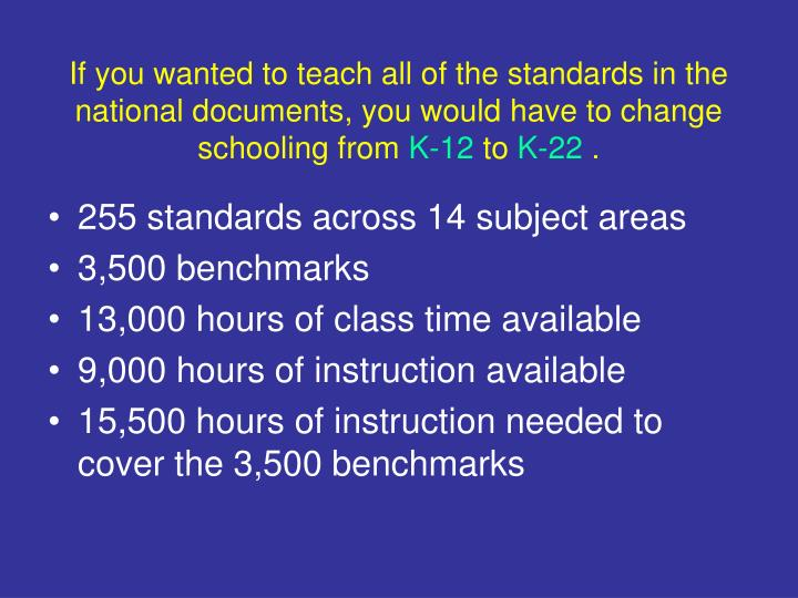If you wanted to teach all of the standards in the national documents, you would have to change schooling from