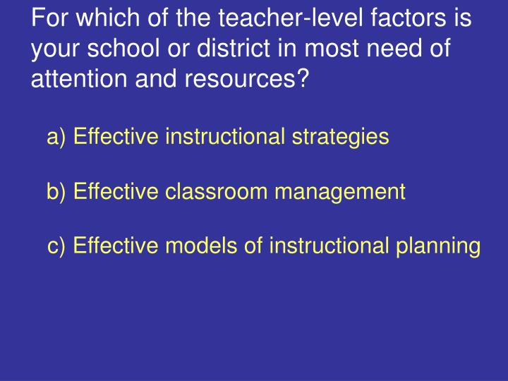 For which of the teacher-level factors is your school or district in most need of attention and resources?