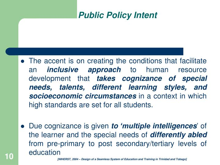 Public Policy Intent