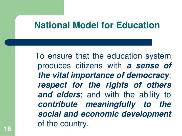 National Model for Education