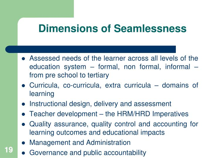 Dimensions of Seamlessness