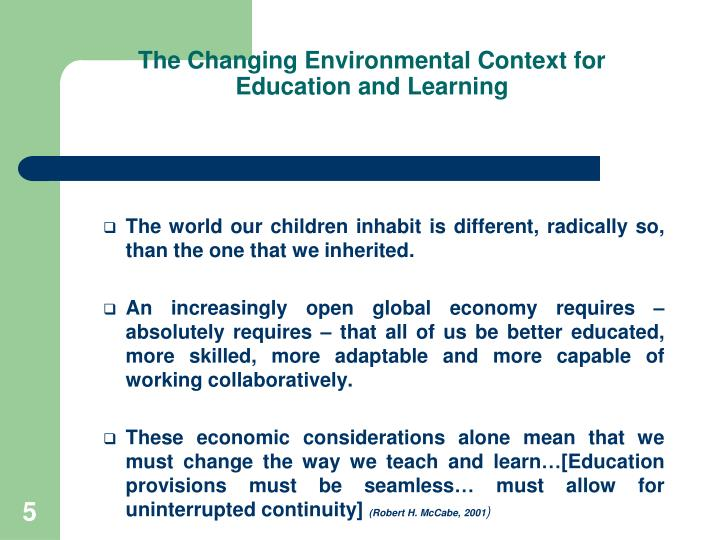 The Changing Environmental Context for