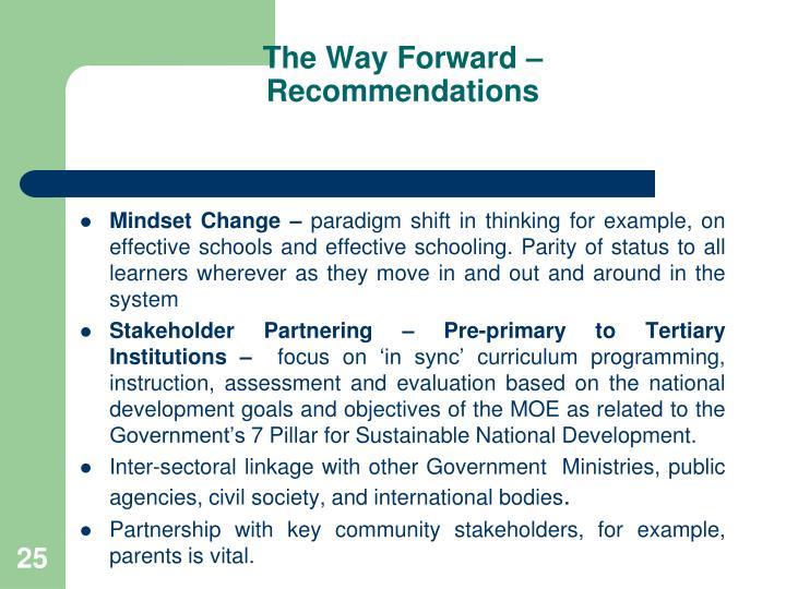 The Way Forward –