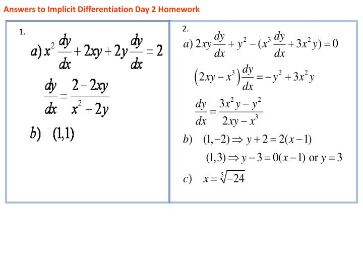 answers to implicit differentiation day 2 homework n.