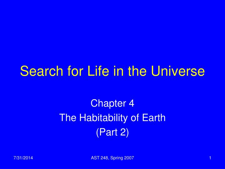 search for life in the universe n.