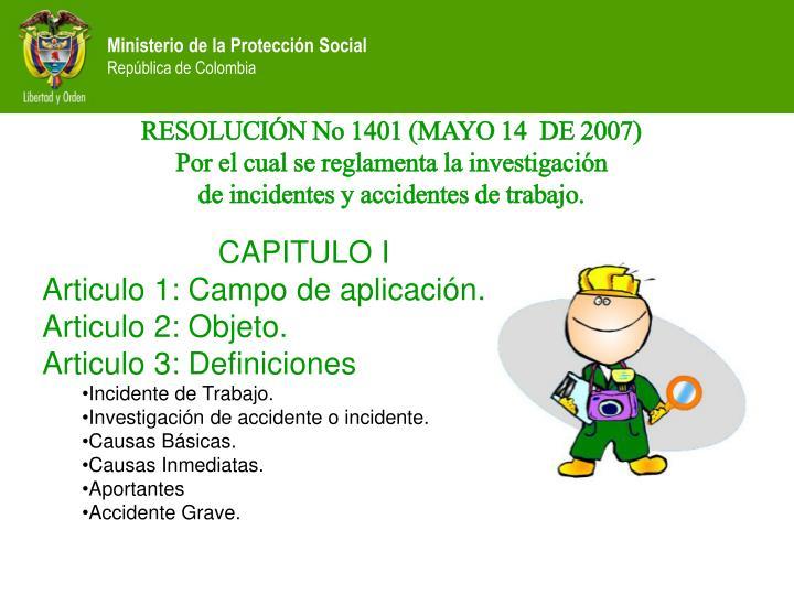 RESOLUCIÓN No 1401 (MAYO 14  DE 2007)
