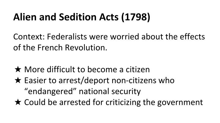 Alien and sedition acts 1798
