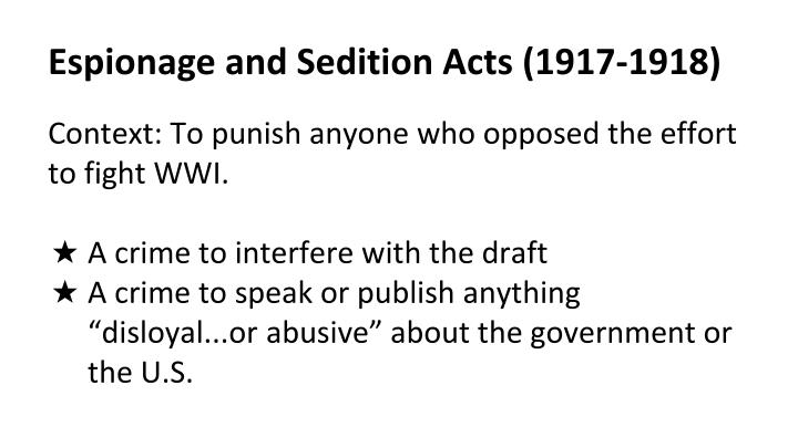 Espionage and Sedition Acts (1917-1918)