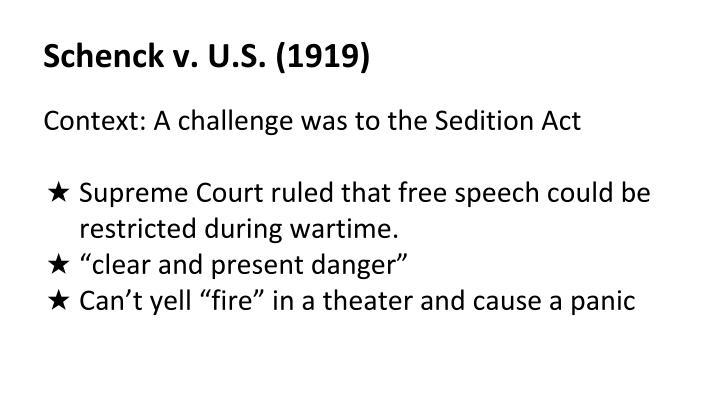 Schenck v. U.S. (1919)