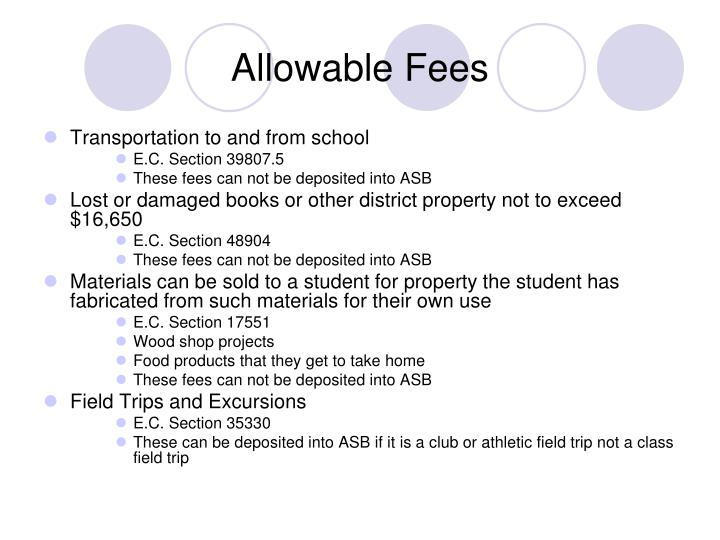 Allowable Fees