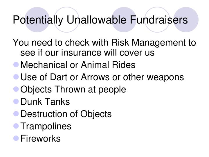 Potentially Unallowable Fundraisers