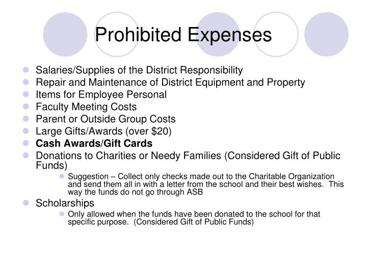 Prohibited Expenses