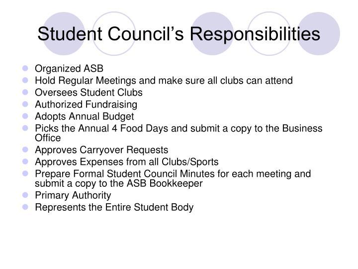 Student Council's Responsibilities