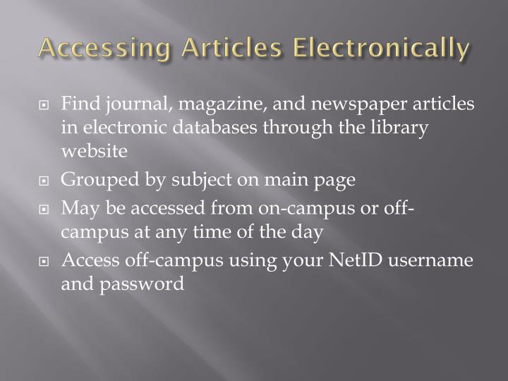 Accessing Articles Electronically