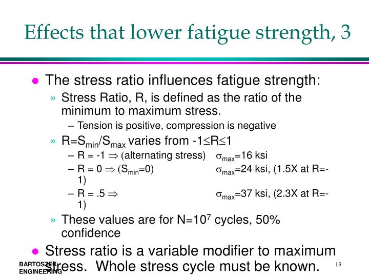 Effects that lower fatigue strength, 3
