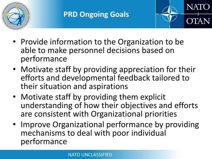 PRD Ongoing Goals