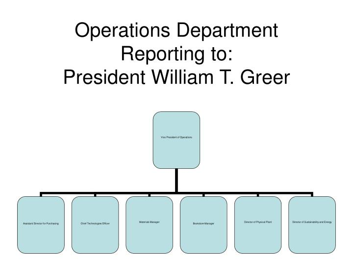 operations department reporting to president william t greer n.