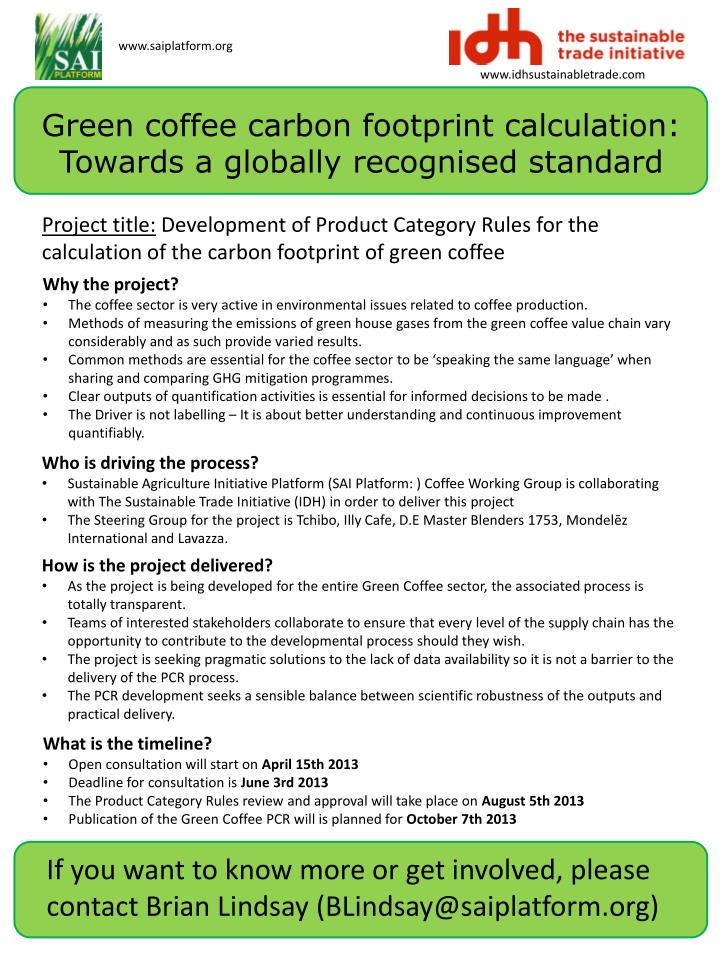 green coffee carbon footprint calculation towards a globally recognised standard n.