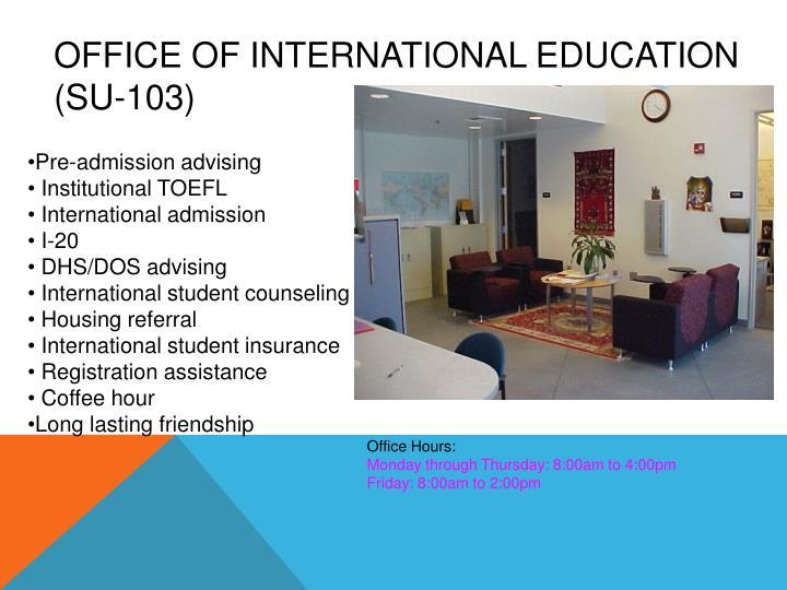 Office of international education su 103